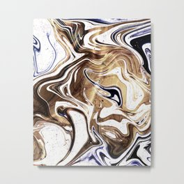 Metallic Gold Purple White Marble Swirl Metal Print
