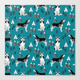 Husky siberian huskies mountains pet portrait dog dogs pet friendly dog breeds gifts Canvas Print