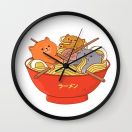 Ramen and cats Wall Clock