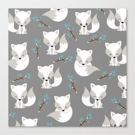 ARCTIC FOXES ON GREY Canvas Print