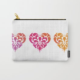 Rainbow Watercolor Damask Heart Carry-All Pouch