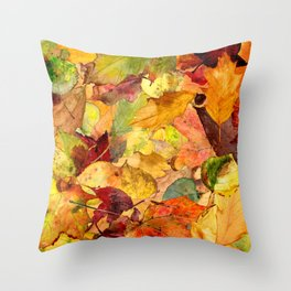 The Fall Forest Floor Throw Pillow