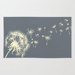 Dark Gray Ivory Dandelion Make a Wish Rug