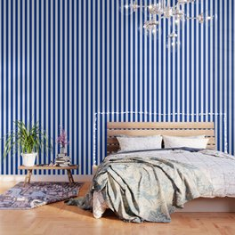 Dark Princess Blue and White Wide Vertical Cabana Tent Stripe Wallpaper