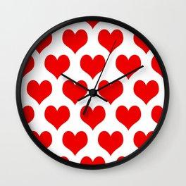 Holidaze Love Hearts Red Wall Clock