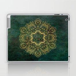 Golden Flower Mandala on Dark Green Laptop & iPad Skin