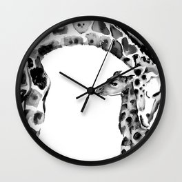 Black and white giraffes Wall Clock