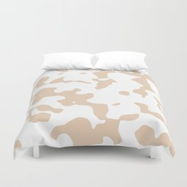 Large Spots - White and Pastel Brown Duvet Cover