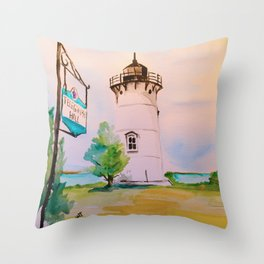 East Chop (Telegraph Hill) Lighthouse Martha's Vineyard Watercolor Throw Pillow