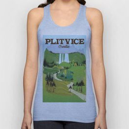Plitvice Croatia landscape model travel poster. Unisex Tank Top