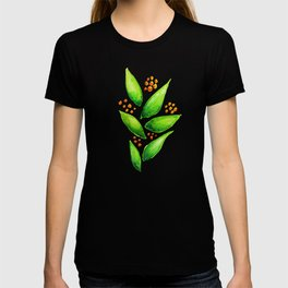Abstract Watercolor Green Plant With Orange Berries T-shirt