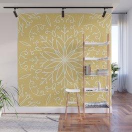 Single Snowflake - Yellow Wall Mural