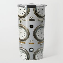 Retro clock faces on control panel Travel Mug