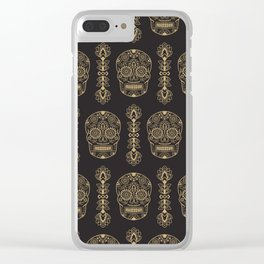 Mexican Sugar Skulls Gold on Black Clear iPhone Case