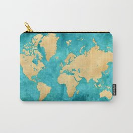 """Teal watercolor and gold world map with countries and states """"Lexy"""" Carry-All Pouch"""