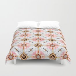 Gold Buttons Pink and White Pattern Duvet Cover