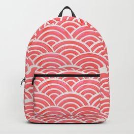 Japanese Seigaiha Wave Pattern – Coral Backpack
