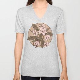 Sakura Branch Pattern - Pale Dogwood + Hazelnut Unisex V-Neck