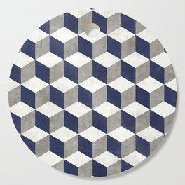 Geometric Cube Pattern - Concrete Gray, White, Blue Cutting Board