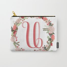 Personal monogram letter 'U' flower wreath Carry-All Pouch