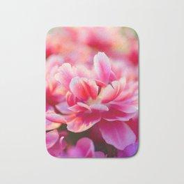 Fresh pink white red tulips Bath Mat