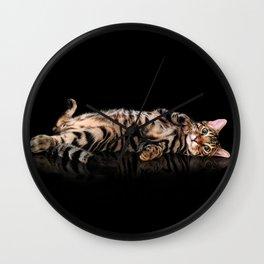 Bengal cat / Kitten on black Wall Clock