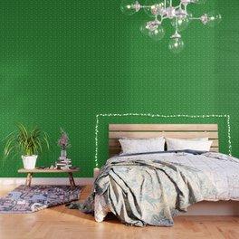 Evergreen Green & White Christmas Snowflakes Wallpaper