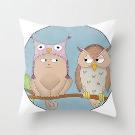 cat & owl Throw Pillow