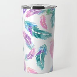 Pastel pink turquoise hand painted watercolor feathers pattern Travel Mug