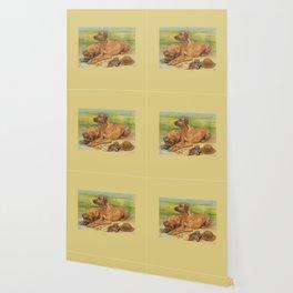 Rhodesian Ridgeback Dog portrait in scenic landscape Painting Wallpaper