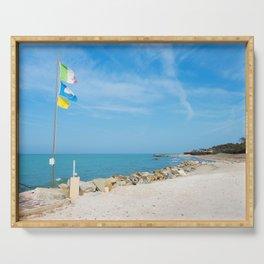 Beautiful azure sea and the rocky beach, Tyrrhenian sea in Tuscany, Italy Serving Tray