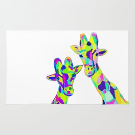 Abstract Cute Giraffe with Neon Colorful Spots Rug