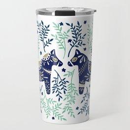Swedish Dala Horse – Navy & Mint Palette Travel Mug