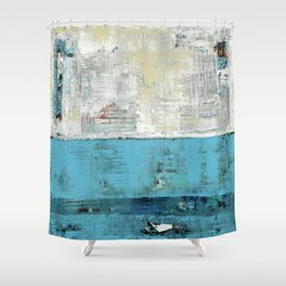 Fairbanks Abstract Light Blue White Shower Curtain