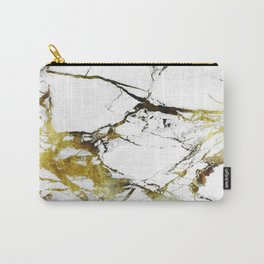 Gold-White Marble Impress Carry-All Pouch