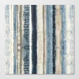 Distressed Blue and White Watercolor Stripe Canvas Print
