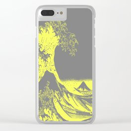 The Great Wave Yellow & Gray Clear iPhone Case