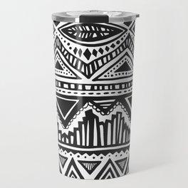 zig-zag handdrawn black and white Travel Mug