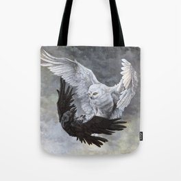 Yin Yang Owl and Raven Tote Bag