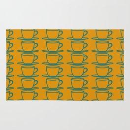 Teacups - ochre and teal Rug