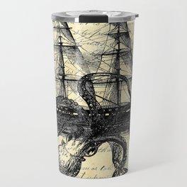 Kraken Octopus Attacking Ship Multi Collage Background Travel Mug