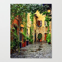 Vintage street in Rome, after Rain Canvas Print