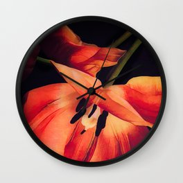 Orange Sentinels Wall Clock