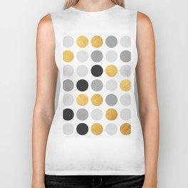 Gray and gold circles Biker Tank