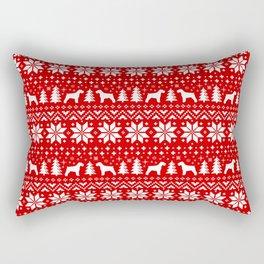 Schnauzer Silhouettes Christmas Sweater Pattern Rectangular Pillow