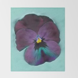 Purple viola tricolor Throw Blanket