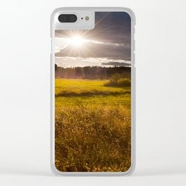 Breathtaking sunset above meadow Clear iPhone Case