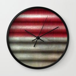 Industrial Wall | Red Grey Striped Wall | Contemporary Art Wall Clock