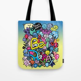 Be Happy doodle monster Tote Bag