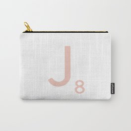 Pink Scrabble Letter J - Scrabble Tile Art and Accessories Carry-All Pouch